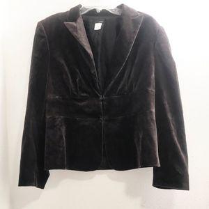 J Crew Brown velvet feel cotton blazer size 12